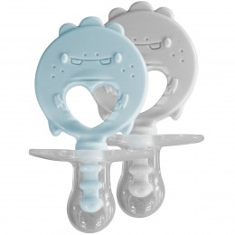 ZoLi Binki.T Pacifier + Teether Combination Dino Mist blue/Ash