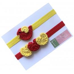 Bird and Heart Elastic Hairband - Red+Yellow