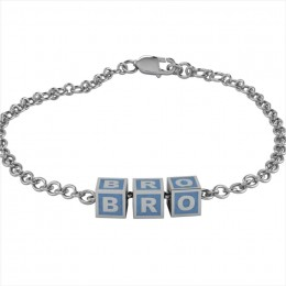 Sterling Silver Bracelet BRO with Blue Square Cubes