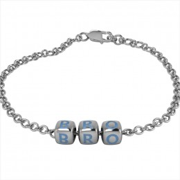 Sterling Silver Bracelet BRO with Blue Dice Cubes