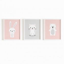 Baby Animals Frame - Pink