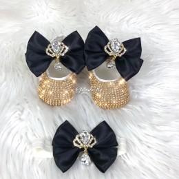 Cinderella Shoes & Headband - Black & Gold
