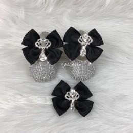 Cinderella Shoes & Headband - Black & White