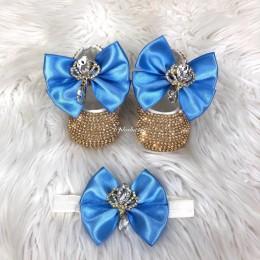 Cinderella Shoes & Headband - Blue & Gold