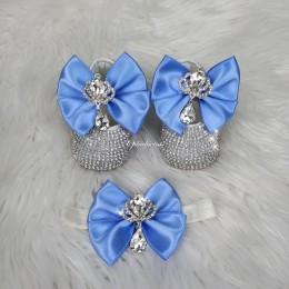 Cinderella Shoes & Headband - Blue & White