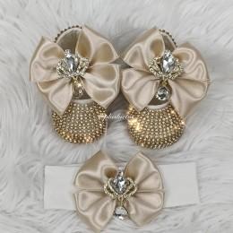 Cinderella Shoes & Headband - Champagne Gold