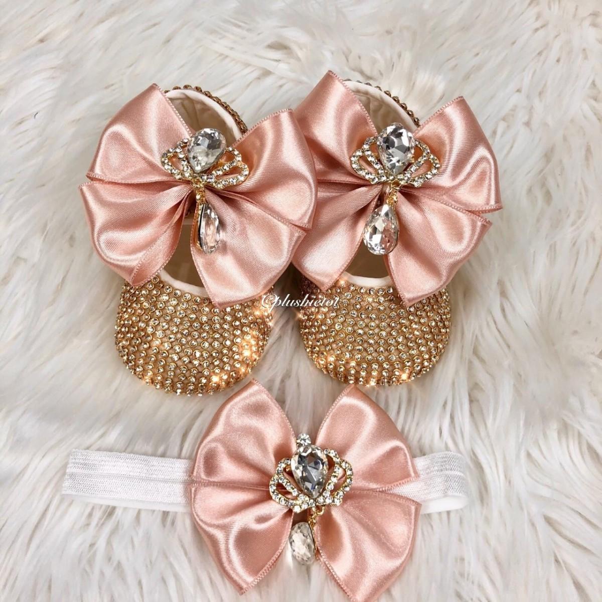 Cinderella Shoes & Headband - Coral Pink & Gold