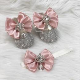 Cinderella Shoes & Headband - Coral Pink & White