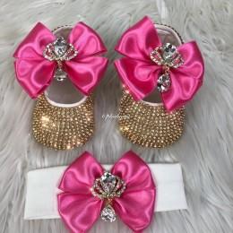 Cinderella Shoes & Headband - Dark Pink & Gold