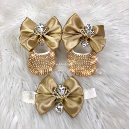 Cinderella Shoes & Headband - Gold