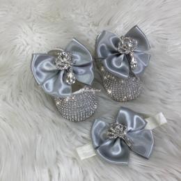 Cinderella Shoes & Headband - Grey & White