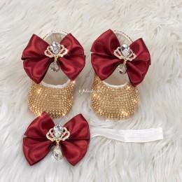 Cinderella Shoes & Headband - Maroon Gold
