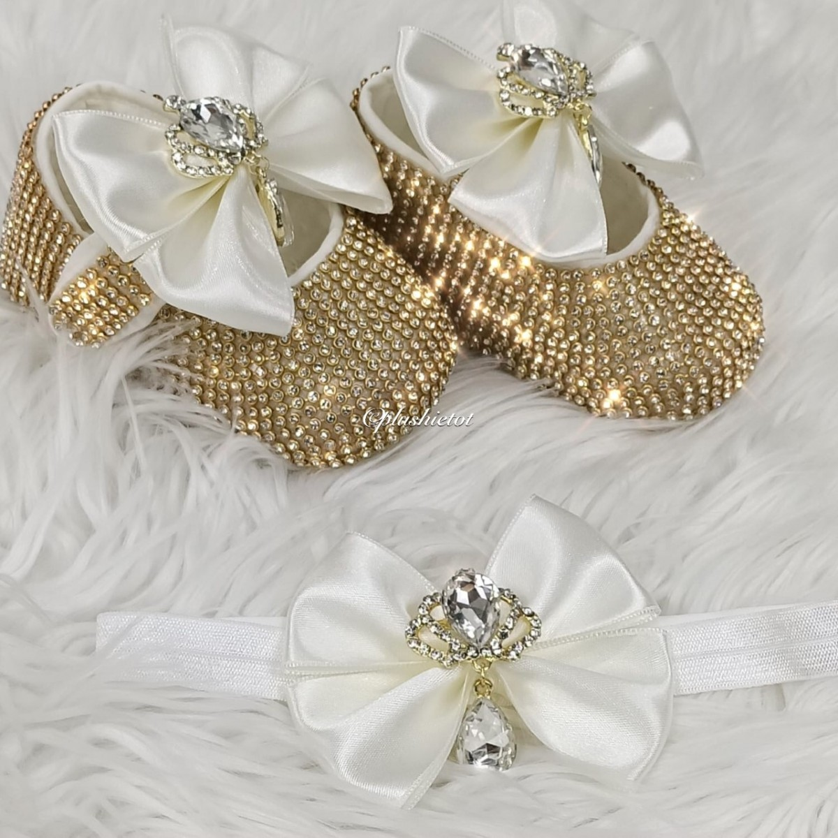 Cinderella Shoes & Headband - Off White & Gold