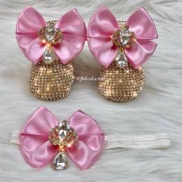 Cinderella Shoes & Headband - Pink & Gold