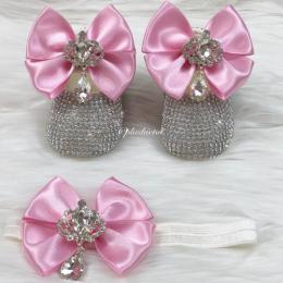 Cinderella Shoes & Headband - Pink & White
