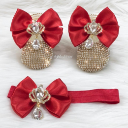 Cinderella Shoes & Headband - Red & Gold