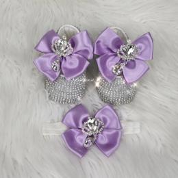 Cinderella Shoes & Headband - Violet White