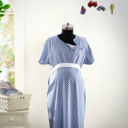 Classic Gingham Check Maternity & Nursing Gown