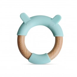 Little Rawr Wood + Silicone Teether Ring -Blue