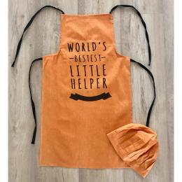 Worlds Bestest Little Helper -  Orange Chef Apron and Hat