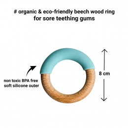 Little Rawr Wood + Silicone Simple Ring -Blue