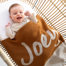 Brown Sugar Panel Personalized Organic Cotton Knitted Blanket