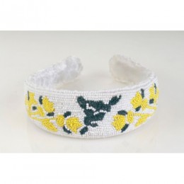 Seeded White & Yellow Floral Headband