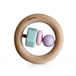 Little Rawr Wood and Silicone Bead O Shape Teether Toy