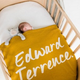 Goldie Personalized Organic Cotton Knitted Blanket