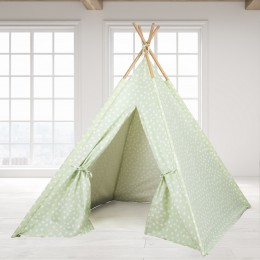 Teepee Tent - Green Base & White Dot
