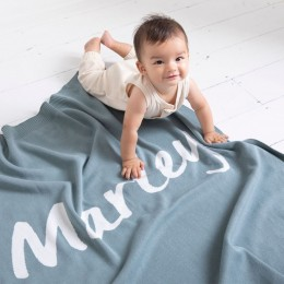 Stone Blue Personalized Organic Cotton Knitted Blanket