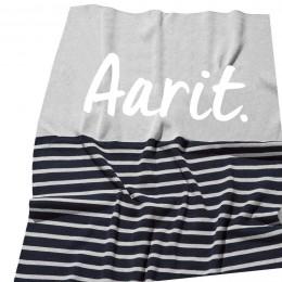 Indigo Navy Stripe Personalized Organic Cotton Knitted Blanket