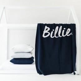 Indigo Navy Personalized Organic Cotton Knitted Blanket