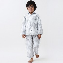 Jade Blockprint Pajama Set (Grey)