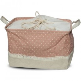 Utility Basket - Cotton Jute Canvas Blend - Pink