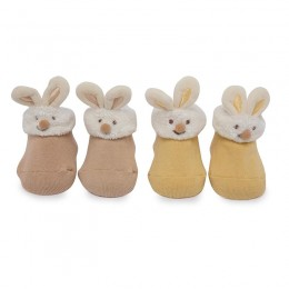 Yellow Bunny Friends 3D Socks - 2 pack