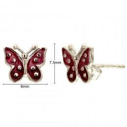 Enamelled Earrings - Butterflies
