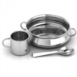 Sterling Silver Dinner Set for Baby and Child - Traditional Feeding Set