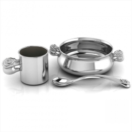 Sterling Silver Dinner Set for Baby and Child - Elephant Feeding Set