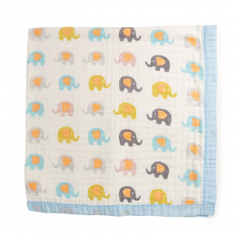 Baby Elephants Quilted Muslin Blanket