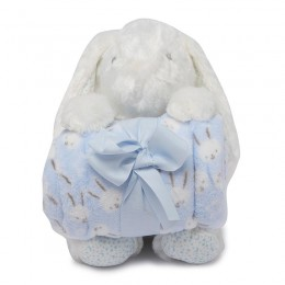 Blue Bunny Blanket with Toy