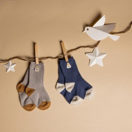 Brown & Blue Long Cozy Socks - 2 pack