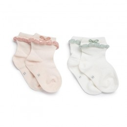 Pink and Green Bow Socks - 2 pack