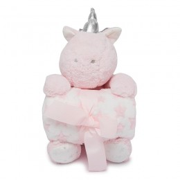 Pink Unicorn Blanket with Toy