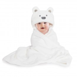 White Hooded Fur Blanket