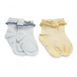 Yellow and Blue Bow Socks - 2 Pack