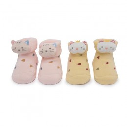 Yellow & Pink Kitty 3D Socks - 2 pack