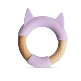 Little Rawr Wood + Silicone Teether Ring -Purple