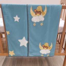 Cot Bedding Set with Organic Baby Dohar Blanket and Cotton Pillow - Sweet Dreams Teddy