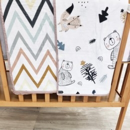 Cot Bedding Set with Organic Baby Dohar Blanket and Cotton Pillow - Woodland Friends